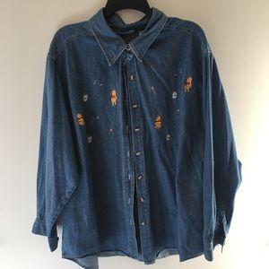 Winnie The Pooh Embroidered Denim Shirt